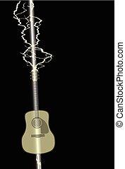 huelga, guitarra acústica, relámpago