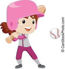 huelga, jugador, niña, Pelota, beisball