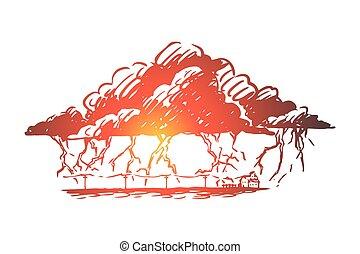 huelga, mano, relámpago, tormenta, nube, aislado, dibujado, vector., concept., tormenta