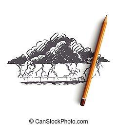 huelga, nube, dibujado, concept., tormenta, mano, tormenta, aislado, vector., relámpago