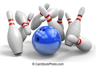 huelga, pelota, azul, perfecto, golpear