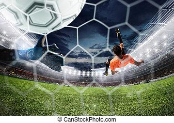 huelguista del fútbol, golpea, el, pelota, con, un,...