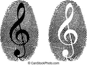 huella digital, con, símbolo de música