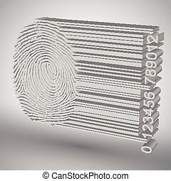 huella digital, favorecedor, barcode, vector, ilustración