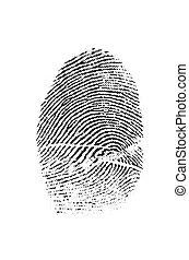 huella digital, primer plano, crimen