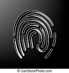 huella digital, señal, illustration., vector., gris, 3d, impreso, icono, en, negro, fondo.