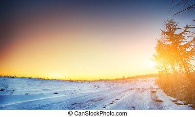 huellas, de, el, coche, ruedas, en, un, nevoso, camino