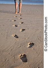 huellas, en, arena mojada, en una línea, con, un, hombre caminar, a, el, mar