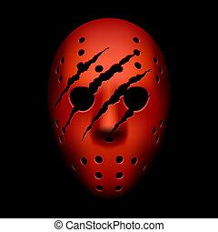 huellas, garra, máscara, hockey, rojo