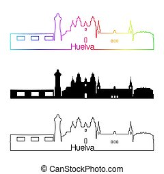 Huelva skyline linear style with rainbow