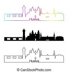 Huelva skyline linear style with rainbow