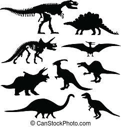 hueso, dinosaurio, silueta, esqueleto