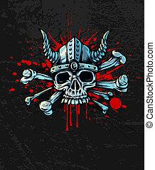 huesos, casco, cuernos, cráneo, sangriento