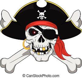 huesos, cráneo, cruzado, pirata