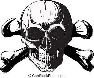 huesos, cruz, cráneo