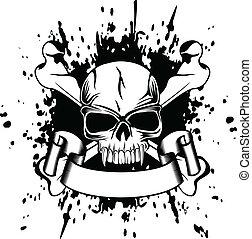 huesos, cruzado, cráneo