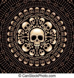 huesos, escarapela, cráneos