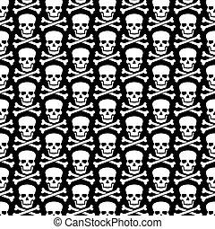 huesos, patrón, cruzado, plano de fondo, cráneo