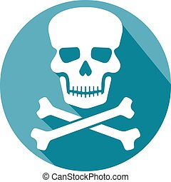 huesos, plano, cráneo, icono