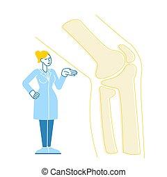 huesos, radiografía, carácter, vector, orthopedist, tratamiento, podiatry, coyuntura, rodilla, lineal, ilustración, hospital., pie, concept., estante, ortopedia, médico, inmenso, doctor, picture., atención sanitaria, paciente