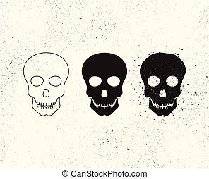huesudo, muerte, cráneo, símbolo., ilustración, formas, vector, head., icon., estructura
