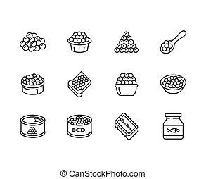 hueva, pez, señales, perfecto, iconos, set., caviar, pixel, ...