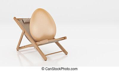 huevo, con, acostar, en, verano, silla de la playa, aislado, blanco, plano de fondo, para, pascua, feriado, concept., 3d, interpretación