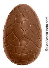 huevo de pascua, aislado, chocolate