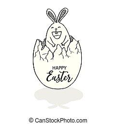 huevo de pascua, caricatura, conejo, feliz