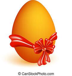 huevo de pascua, con, arco rojo