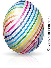huevo de pascua, con, colorido, rayas