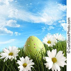 huevo de pascua, en, el, pasto o césped, con, margaritas