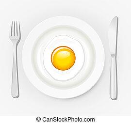 huevo, en, un, placa, con, cubiertos