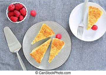 huevo, rebanadas, empanada de las natillas