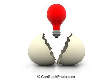 huevo roto, con, brillado, lámpara