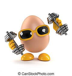 huevo, trabaja, dumbells, afuera, 3d