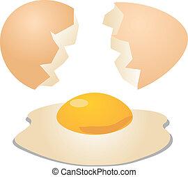 huevos, agrietado, abierto