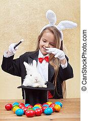 huevos, arriba, conjurar, niña, mago, conejito de pascua, feliz