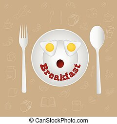 huevos, cara, vector., freír, breakfast., feliz