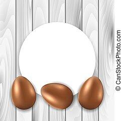 huevos, celebración, Pascua, tarjeta,  chocolate