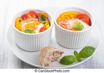 huevos, cocido al horno, tomates, paprika