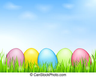 huevos coloreados, en, pasto o césped