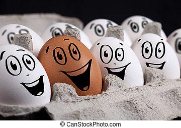 huevos, con, caras sonrientes, en, cáscara de huevo