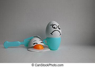 huevos, con, face., concepto, de, descontento
