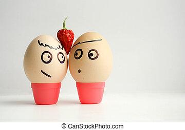 huevos, con, pintado, face., concepto, de, amor