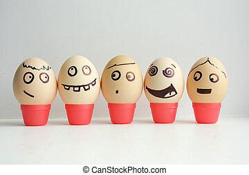 huevos, con, pintado, face., concepto, de, el, primero