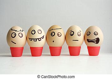 huevos, con, pintado, face., concepto