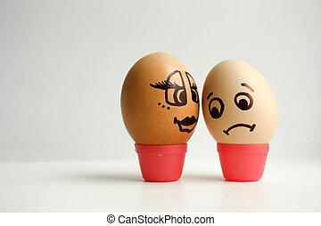 huevos, con, pintado, face., el, concepto