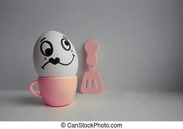 huevos, concepto, amor, cara
