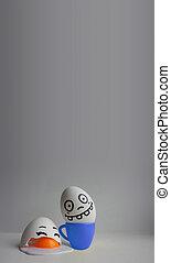 huevos, concepto, cara, asesinato